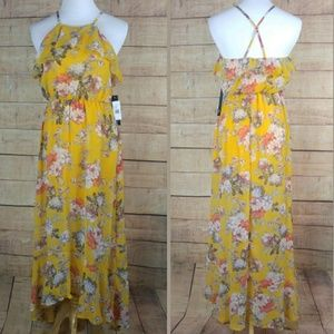 NWT As U Wish yellow floral hi low maxi dress